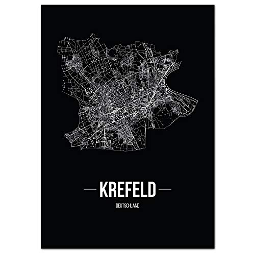 JUNIWORDS Stadtposter, Krefeld, Wähle eine Größe, 40 x 60 cm, Poster, Schrift B, Schwarz