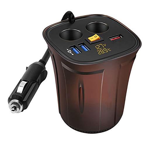 Dibiao USB auto oplader, 120 W auto sigaret aansteker Splitter met Voltmeter Thermometer, Geel