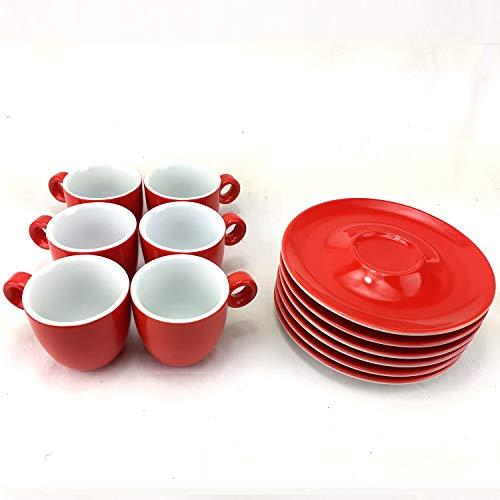 Juego de 6 Tazas para Espresso de Porcelana con Platos, Capacidad 60ml, Color Rojo, ideal para café solo.