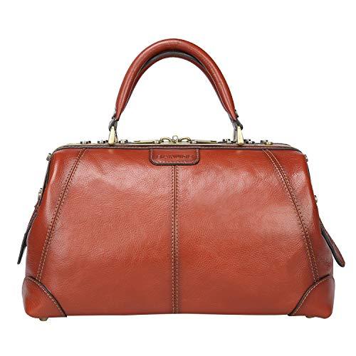 Banuce Full Grain Italian Leather Doctor Bag for Women Men Briefcase Handbag Purse