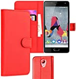 iPOMCASE Coque Pochette Portefeuille pour Wiko Ufeel Lite, Rouge