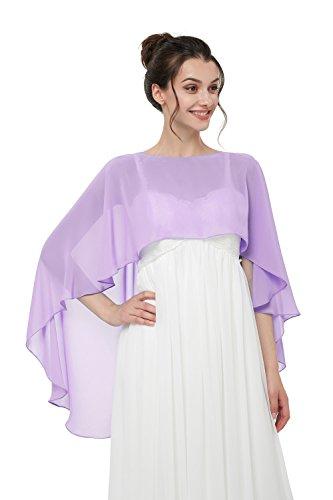 Auxico Auxico Chiffon Stola Schal für Kleider in verschiedenen Farben perfekt zu jedem Brautkleid Abendkleid, Hochzeit Abend Gala (Lavendel, one size)