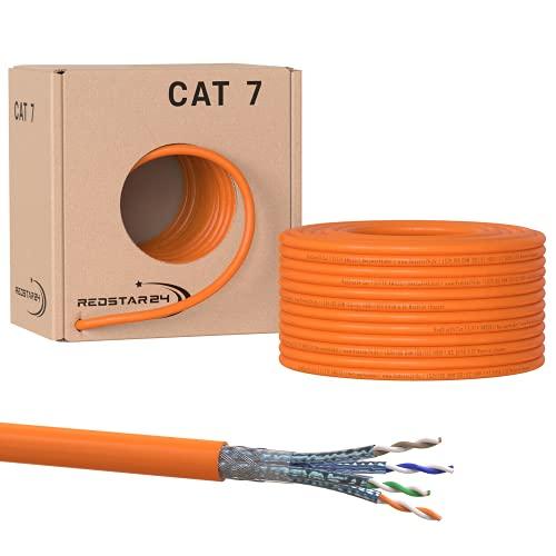 SatShop-Ft 50m CAT 7 Verlegekabel Netzwerkkabel CAT.7 LAN Halogenfrei Installationskabel CAT7 Kabel Netzwerk Verkabelung Datenkabel Gigabit Kupfer Ethernet (50m Abrollbox, Cat 7)