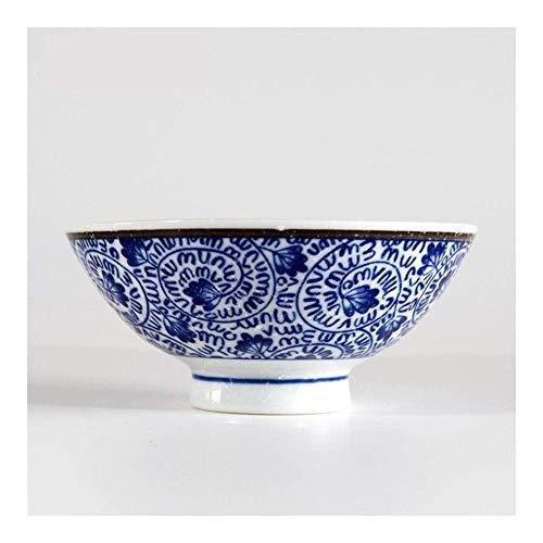 L.TSN Home Cuenco de Sopa de arroz Importado Azul teñido de muñeca Grande Cuenco de cerámica Vajilla Vintage Cuenco de Sopa Retro de Hotel Decorativo (Color: A)