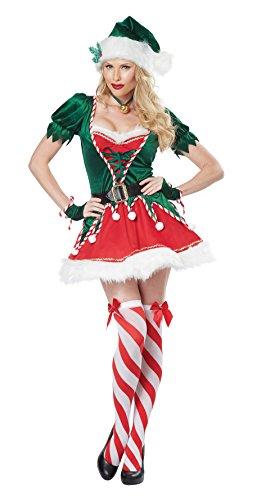 California Costumes Women's Santa's Helper Adult, Green/Red, Small