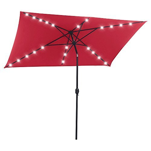 SNAIL 6.5' X 10' Rectangular Solar Powered Tilting LED Patio Umbrella with 22 Solar Powered LED Lights, Fade Resistant 200g Polyester Canopy, Red