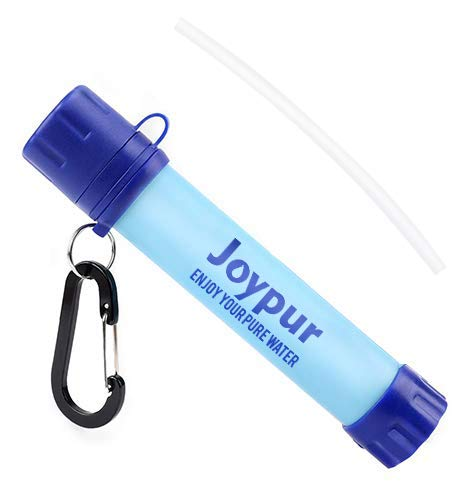 joypur Water Filter Straw, Portable Camping Water Purifier, 4-Stage Integrated Emergency Survival Filtration System for Hiking, Climbing, Backpacking and Emergency Preparedness, Blue