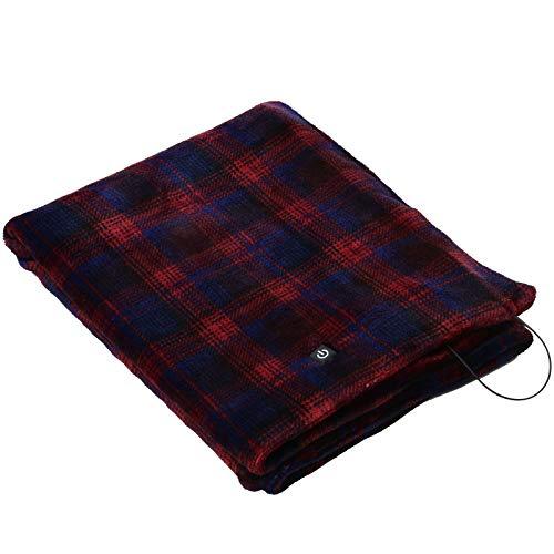 [山善] 電気ひざ掛け ポンチョ USBブランケット 130×80cm 丸洗い可能 電気毛布 肩掛け チェック柄レッド YHK-US40(BC) [メーカー保証1年]