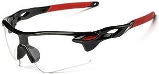 超軽量 スポーツ サングラス UVカット ランニング ゴルフ 自転車 レジャー レンズ アウトドア 男女兼用 ケース付き (レッド(透明レンズ))