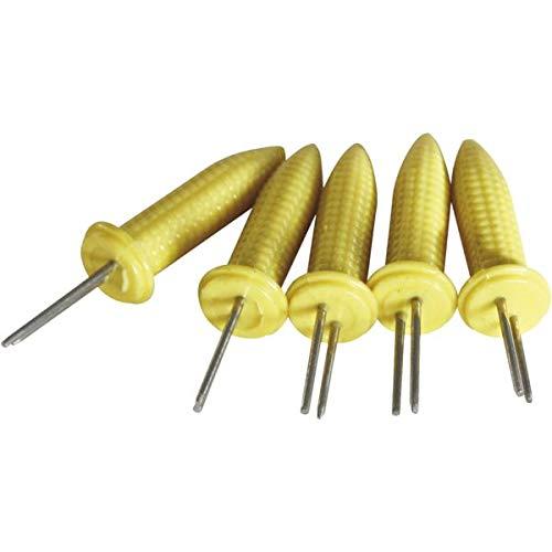 FACKELMANN Maiskolbenhalter auf SB-Karte, 6-TLG, Kunststoff, gelb/Silber, 6.5 x 2 x 2 cm