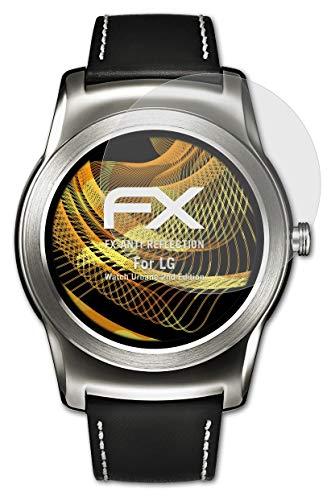 atFoliX Panzerfolie kompatibel mit LG Watch Urbane 2nd Edition Schutzfolie, entspiegelnde & stoßdämpfende FX Folie (3X)