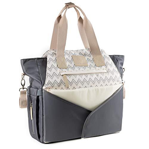 MIXIRL® Baby Wickeltasche mit Wickelunterlage & Kinderwagenbefestigung für unterwegs - wasserabweisend, geruchsneutral & langlebig - ideal für jede Mama