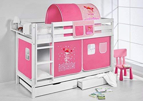 Lilo Kids Litera Jelle TÜV y GS, Hada mágica, hochbett con Cortina y somieres Cuna, Madera, Color Blanco, 208x 98x 150cm