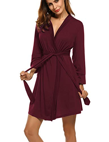 Hotouch Women's Kimono Robes Cotton Lightweight Bath Robe Knit Bathrobe Soft Sleepwear V-Neck Ladies Nightwear Burgundy S