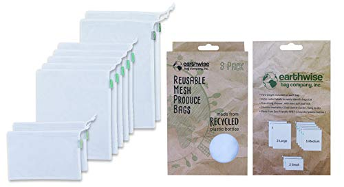 Earthwise Reusable Produce Bags Premium Mesh Set of 9 Bags Made from Recycled Plastic Bottles Ultra Durable Eco Friendly See Through Transparent Material Earth Friendly Gift Box Rpet Mesh