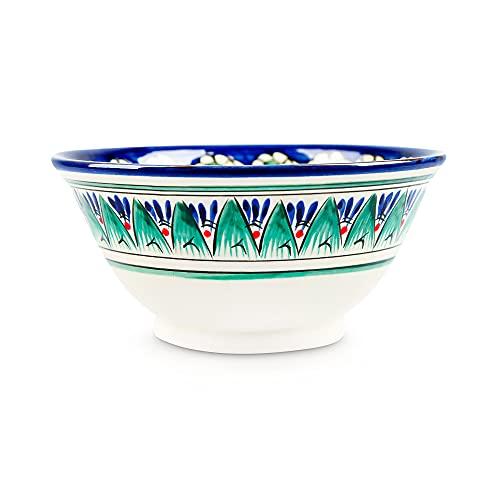 Cuenco de cerámica, cuenco oriental Lagan Rishtan para cereales, ensalada, 15 cm de diámetro
