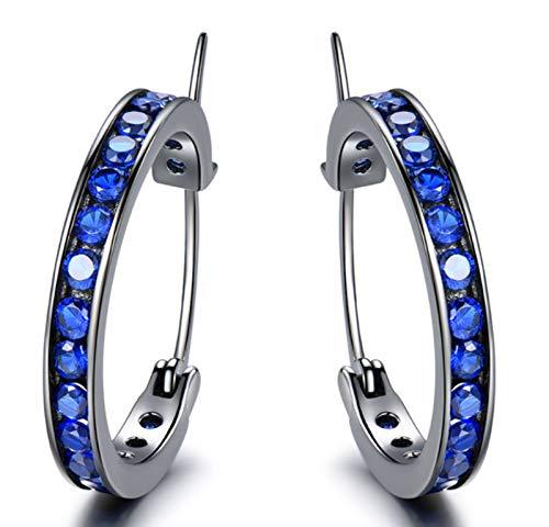 XIRENZHANG Pendientes para Mujer 925 Pendientes de Plata esterlina con Incrustaciones Diamante de Plata Pendientes de aro de Plata Pendientes Simples y versátiles Blue