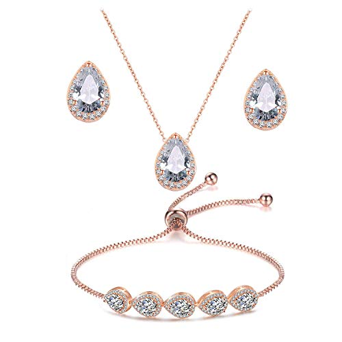 UDORA Zirconia Teardrop Necklace Earrings Bracelet Jewelry Set Wedding Party Prom (Rose Gold)
