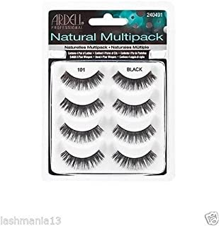 Ardell Demi Natural Multi Pack (4 Pairs in 1 pack) False Eyelashes Human Hair No 101 Black by Ardell