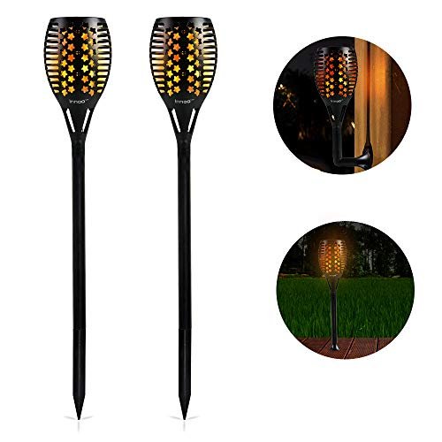 Innoo Tech 2 Stück Solar Led Fackel für außen, IP65 wasserdicht Solar Gartenleuchte, 96 LEDs Solarlampen Gartenfackeln Flammenlicht, mit drei Installationsmethoden