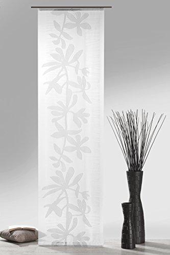 heimtexland ® Schiebegardine Natur-braun inkl. kompletten Zubehör HxB 245x60 cm Natural aus Web-Scherli mit Blumenranke - Flächenvorhang Schiebevorhang Typ409