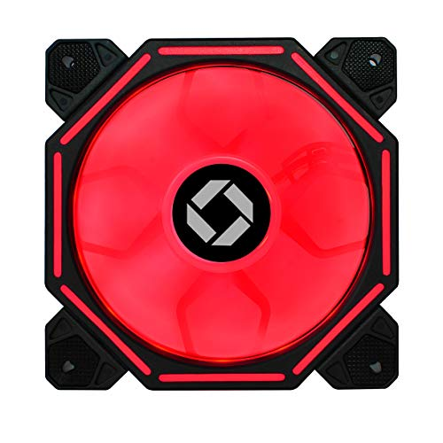 CHIPTRONEX H100R Red LED Fan (120mm) Computer Cabinet/Case Fan 4 pin Connector (H100R)