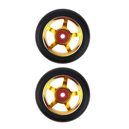 MagiDeal 2 pcs Professionelle 100mm Scooter Ersatz Rollen Scooter Wheels Räder Set - Gold