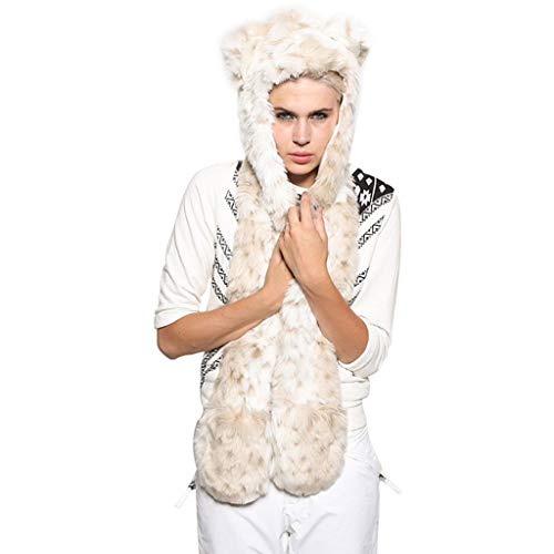 TozuoyouZ Faux Fur Animal Hat Scarf Gloves Mittens 3-in-3 Function Furry Animal Hood Hoods with Paws Ears (White,One Size)