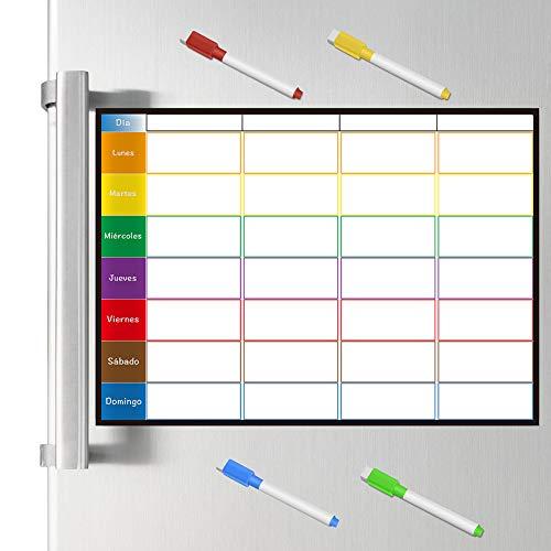 Planificador Semanal Tablero de Nevera (42x30cm) con 4 Colores Pluma para Pizarra- Pizarra Magnética en Español Utilizar como Planificador de Menús/de Actividades/Tabla de Tareas