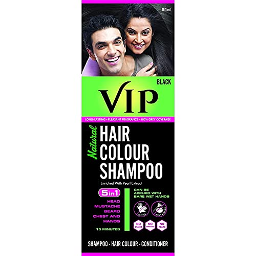 VIP Hair Colour Shampoo, Black, 180ml | No Ammonia | Enriched With Pearl Extract | Natural Black …