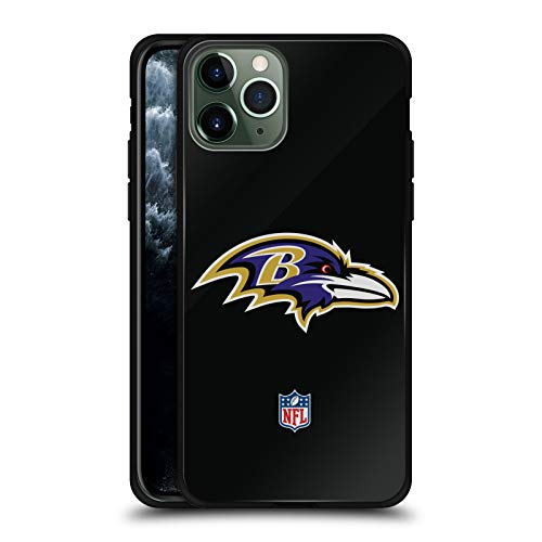 Head Case Designs Officially Licensed NFL Plain Baltimore Ravens Logo Black Hybrid Glass Back Case Compatible with Apple iPhone 11 Pro