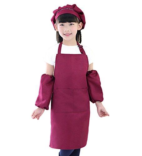 Gespout Tablier Chef Chapeau Manchette Enfants Coton Un Ensemble de Taille réglable Lavable à la Machine Restaurant Hôtel 56 * 50cm (Vin Rouge)