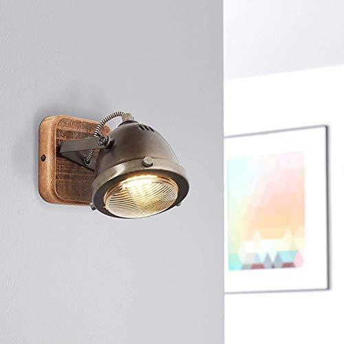 Lightbox - Lámpara de pared retro, regulable, 1 foco, foco LED de pared interior orientable, casquillo GU10 para máx. 5 W, metal, acero, marrón
