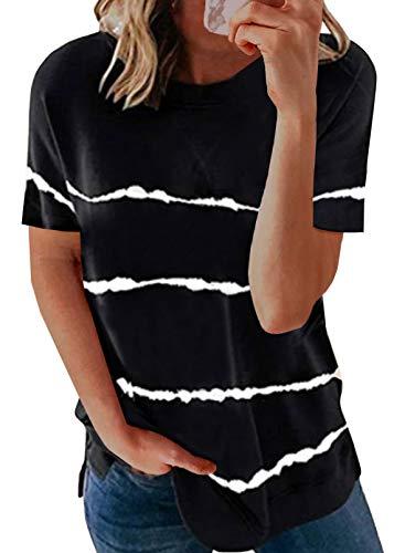 HAPPY SAILED Camiseta de manga corta para mujer con cuello redondo, tallas S-XXL A negro. M