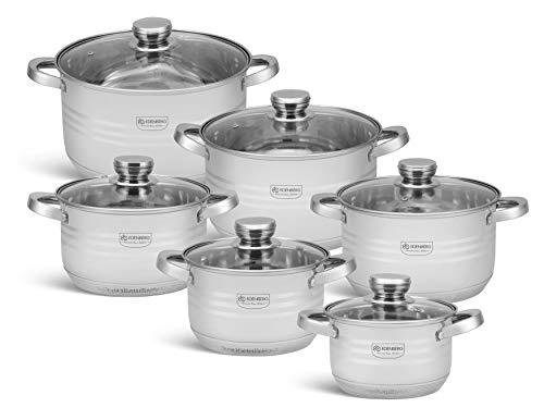 EB-4037 12-teiliges Induktions Töpfe Set, Edelstahl Kochtöpfe Set mit Deckel, für Gas, Elektro, Halogen, Keramik und Induktionsherde