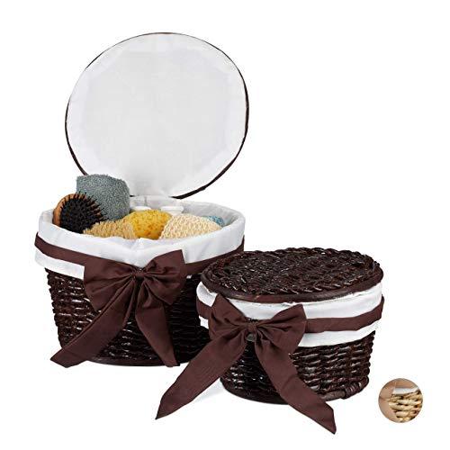 Relaxdays, chocoladebruin badmandje set van 2, opbergen, mandset met deksel, decoratieve manden van Buri hout, gevlochten, rond