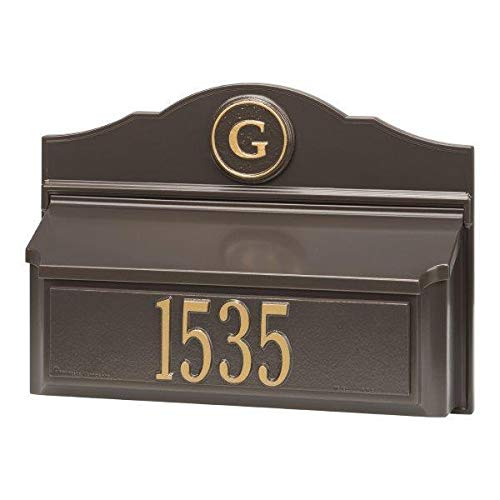 Whitehall 11249 Colonial Wall Mailbox Set 1 with Mailbox Plaque & Monogram with Alumi-Shield and Two Keyhole-Style mounting Holes in Bronze and Gold Finish