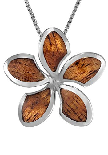 Sterling Silver Koa Wood Plumeria Necklace Pendant with 18\' Box Chain