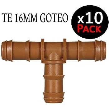 Suinga. TE GOTEO MARRON 16MM. Unión para tubo de goteo diámetro 16 mm. Color marrón. Pack 10 tes para riego por goteo.: Amazon.es: Bricolaje y herramientas