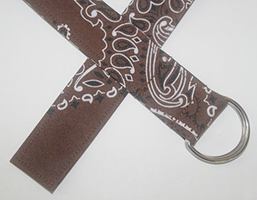 Bandana D-ring Belt made with actual Bandanas. Brown. Medium.