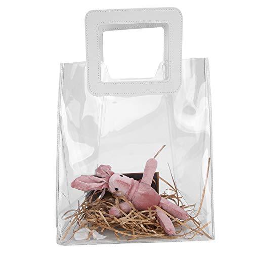 Bolso transparente, bolso de mano de PVC Bolso de mano transparente aprobado por el estadio Bolso de cosméticos impermeable Bolso de maquillaje para niñas Bolso de regalo transparente(oro)