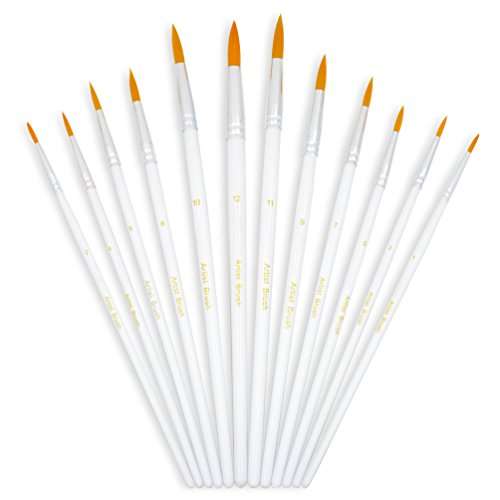 YOUSHARES 12pcs Art Paint Brush Set for Acrylic, Watercolor, Oil Painting/Craft, Nail, Face Paint