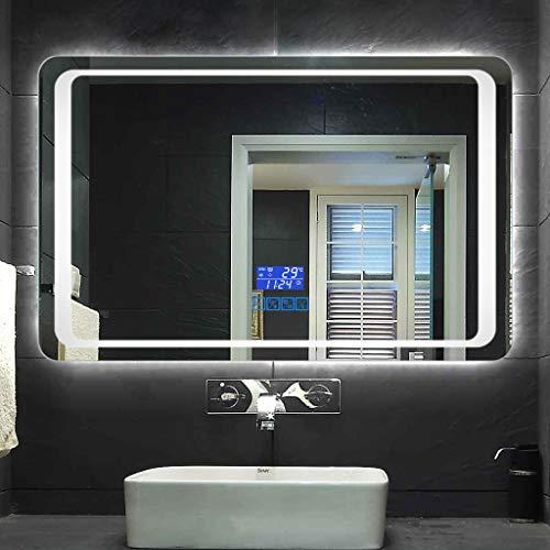 Bathroom mirror Badezimmerspiegel, ExplosionsgeschüTzte Hd-Smart-LED-Anti-Fog-Lampe Bluetooth-Spiegelzeit-Temperaturanzeige