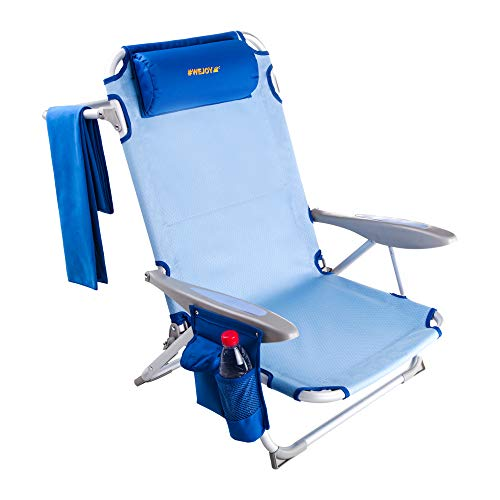 #WEJOY Aluminum Lightweight 4-Position Adjustable Low Seat Folding Beach Chair with Shoulder Strap Cup Holder Pocket Armrest and Headrest, Great for Outdoor Camping Lawn Concert