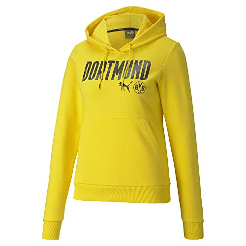 PUMA BVB Ftblcore Wording Hoody W Sudadera, Mujer, Cyber Yellow/Puma Black, XL