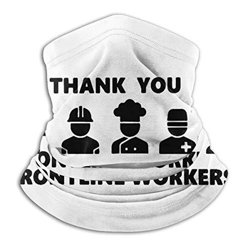 Lawenp Thank You Frontline Workers Salute Essential Workers Tee Mask Bufanda a prueba de viento Microfibra Cuello Calor Multiestilo Cuello Pasamontañas Aheaddressf Negro
