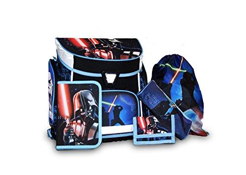 5tlg. Schulranzen Set Star Wars Schulrucksack + Federmappe + Turnbeutel + Brustbeutel + Schlamperrolle Star Wars Darth Vader Yoda