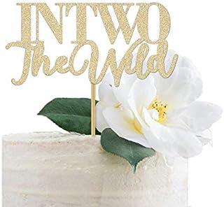DKISEE Tarjeta de purpurina en dos adornos para tarta de The Wild con purpurina dorada para decoración de fiesta de cumple...