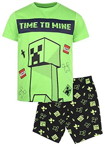 Minecraft - Conjunto de Pijama de Mangas Cortas - Pijamas Verde para Niños - Creeper, Enderman y Zombie Regalo de Cumpleaños Niños - Edad 11-12 Años