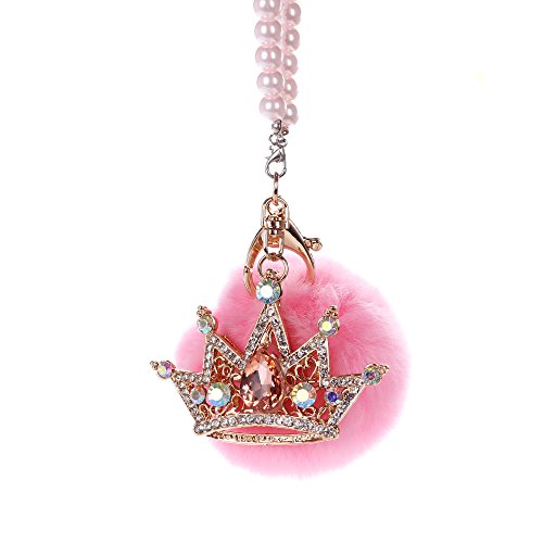 MINI-FACTORY Car Mirror Hanging Accessories, Rearview Mirror Hanging Bling Decoration Fluffy Luxury Diamond Crown with Pearl Chain - Pink